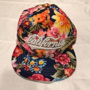 Floral flat brim hat